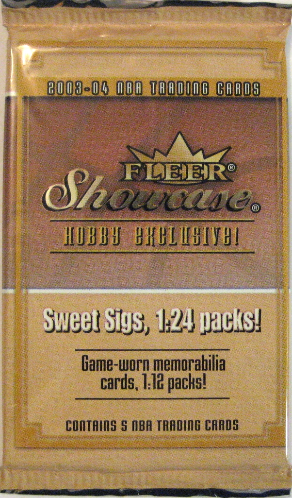 2003-04 Fleer Showcase Basketball Pack: This is probably the most sought-after rookie class after the '86 Fleer set. With rookie of Lebron, Wade, Bosh, and Melo, this is a huge set. Packs from this year can fetch a pretty tidy sum.