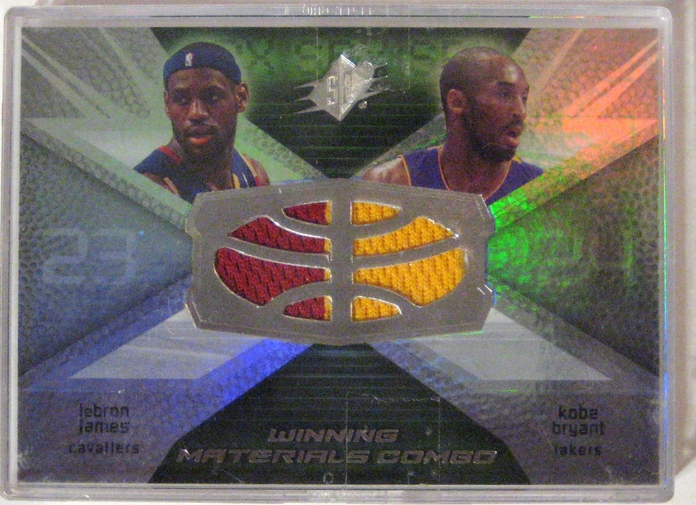 2008-09 SPX Lebron James & Kobe Bryant Winning Materials Combo  : This card features a game used jersey patch from both Kobe and Lebron. Two of the best (not to mention the most iconic) players in the game.