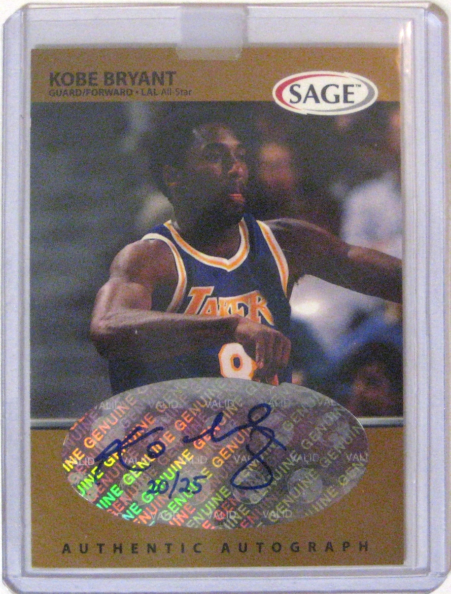 1999-00 Sage Gold Autograph Kobe Bryant: This is maybe the most valuable card in my collection. There are only twenty-five of these cards in existence, and this is a fantastic specimen. Sharp corners and a clean auto. Not the nicest style, but the great autograph and exclusivity makes this a prized card.