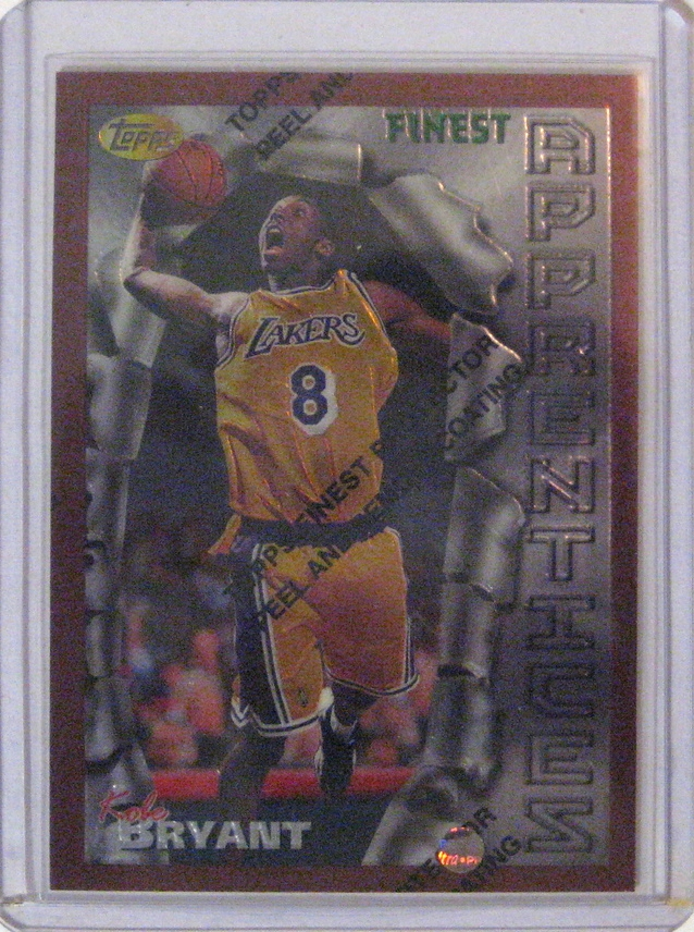 1996-97 Topps Finest Rookie Card Kobe Bryant:  This is the first Topps Finest Kobe card. It is the start of an incredible series of cards from Finest.