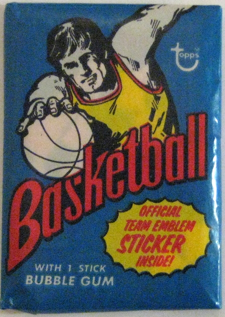 1973-74 Topps Basketball Pack:  This is a great design. The overhead angle is a bit of an anomaly among all the packs from this era, and the strong primary colours are very eye-catching.