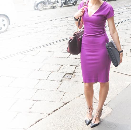 /Dress- Diane von Furstenberg/ Shoes- Valentino/ Bag- Céline/