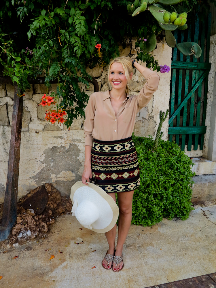 Blouse - Equipment / Skirt - Zara / Sandals & hat - holiday finds