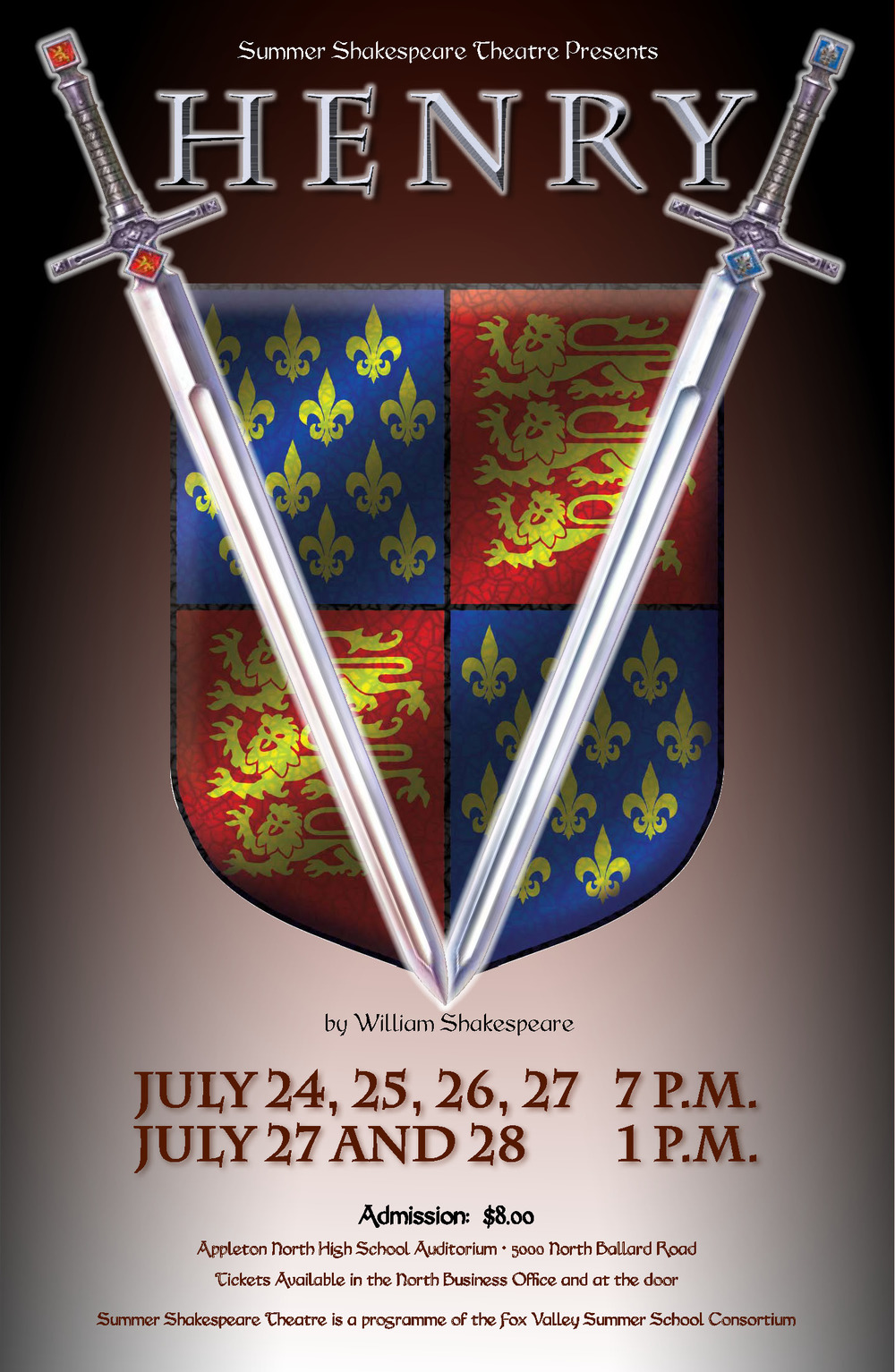 "Henry V poster - two swords in a ""v"" shape over a shield"