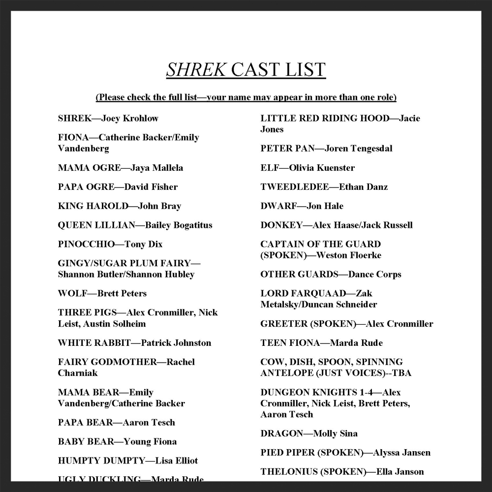 SHREK CAST LIST REVISED 1.3.14