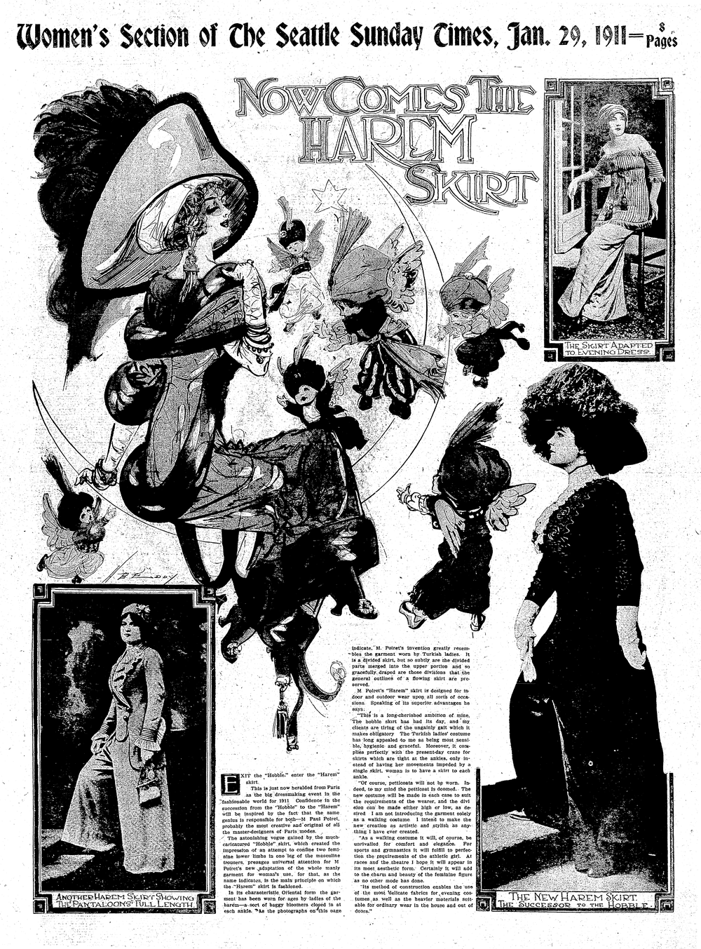 "The Seattle Daily Times introduced the latest fashion in a full-page spread in the ""women's section"" in January of 1911."