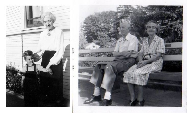 L: Gary Gordon with his great-aunt Birdie in the 1950s.  R: Walter and Louisa Neill in their later years, Seattle, WA. Photos courtesy Gary Gordon.