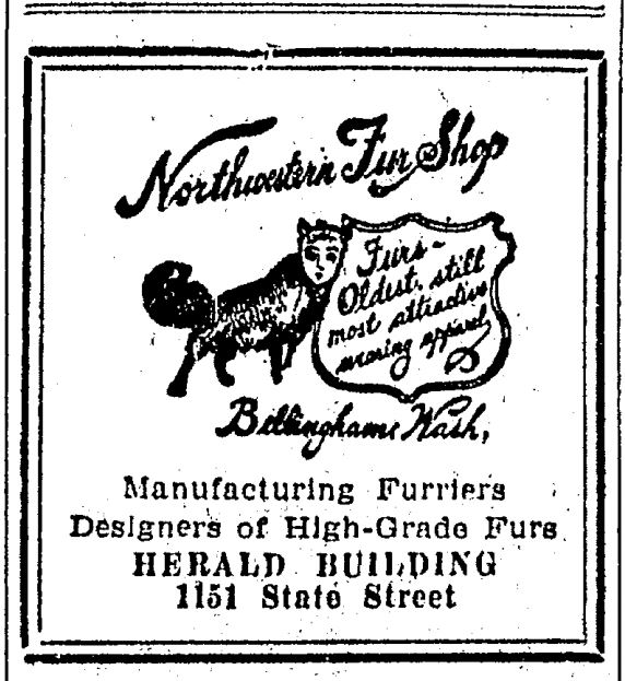Northwestern Fur Shop Ad - Bellingham Herald 1930