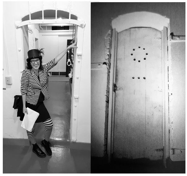 Kolby touring the old city hall basement jail in 2015, left. Padded cell door exterior, right.