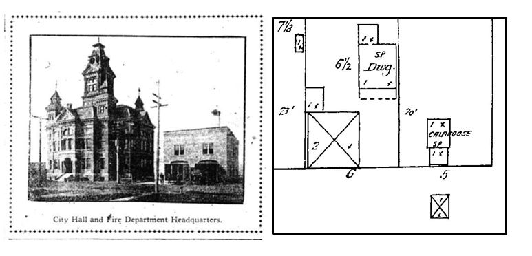 "City hall and neighboring fire station, left. Fire Insurance map showing ""calaboose,"" (jail) in Fairhaven, 1890, right."