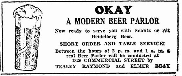 "One of the first ads for a ""real Beer Parlor"" to be conducted on Commercial Street in 1933"