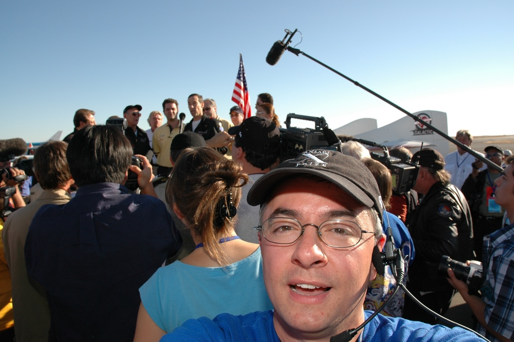 Working on the film crew for X PRIZE TV during the historic flight of Space Ship One in 2004.