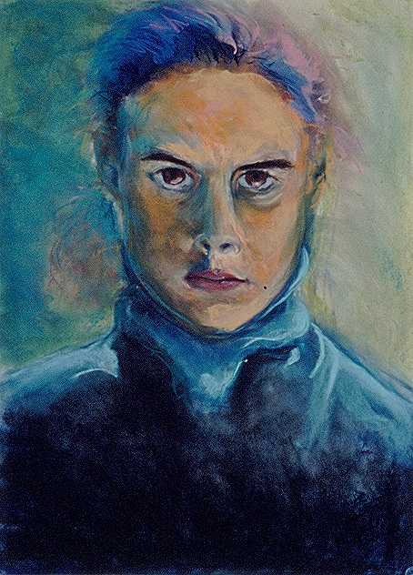 Self Portrait in Blue Turtleneck