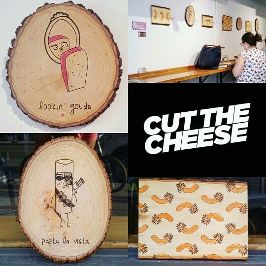 New Art up on the walls! Come by check it out!  repost from @burnbabyburnart Let's Get Cheesy: Wood Burned Puns is my newest collection now available for your art-loving and food-loving selves at @cutthecheeseto. The Junction's grilled cheese and mac n' cheese heaven.