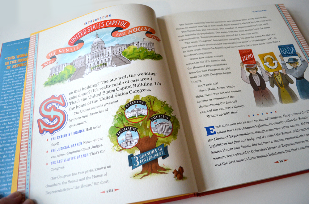 An inside spread with a few of the 50 spots I illustrated!