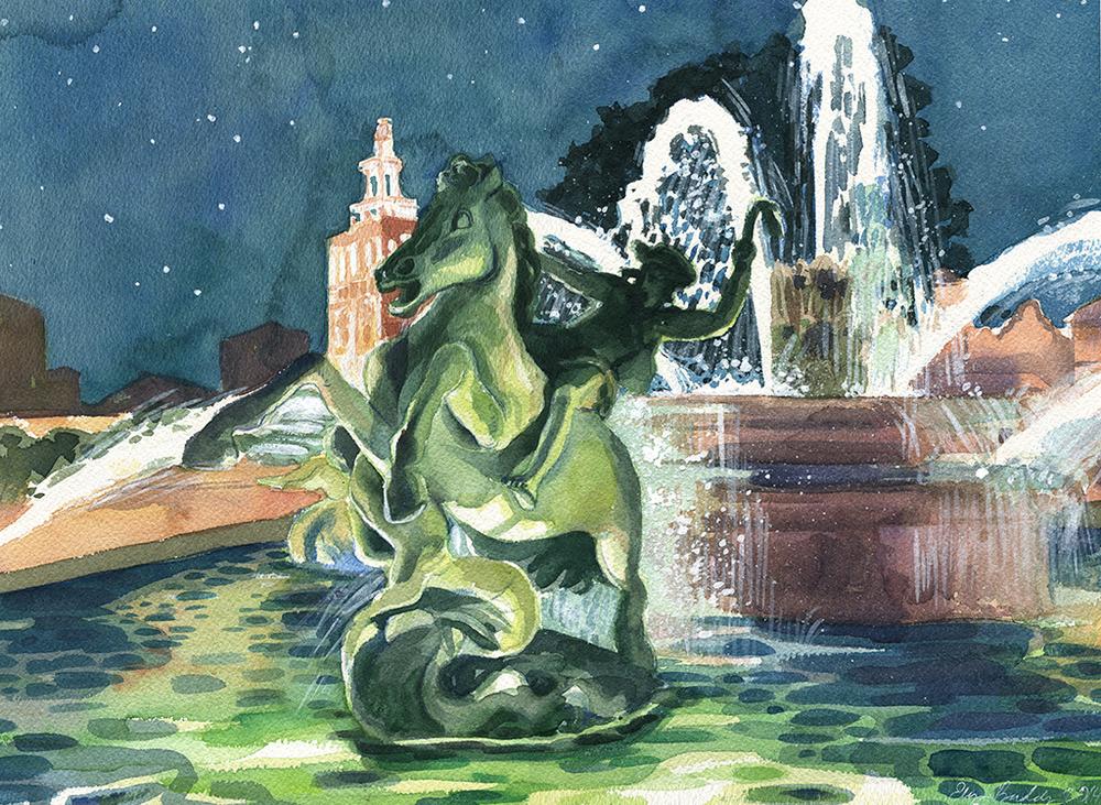 Night Fountain, Kansas City