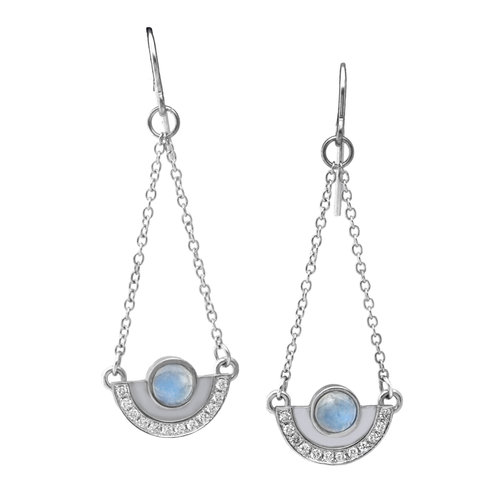 dangle sterling moon earrings rainbow silver moonstone stone buy
