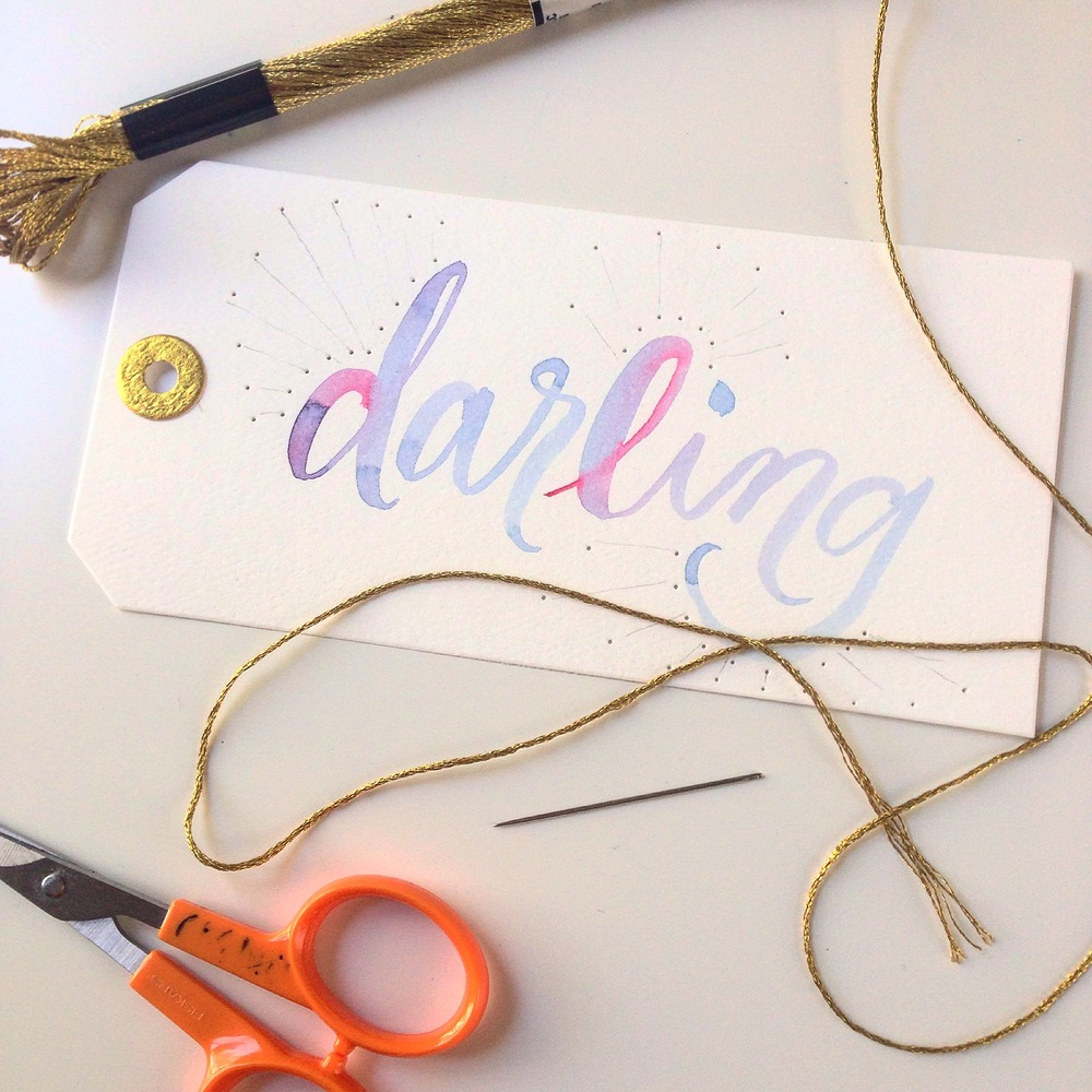 Modern brush calligraphy with watercolor