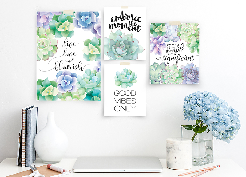 Superb Free Watercolor Succulent Printables
