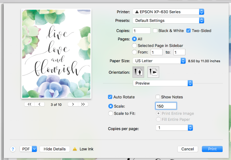 How to print free printable downloads