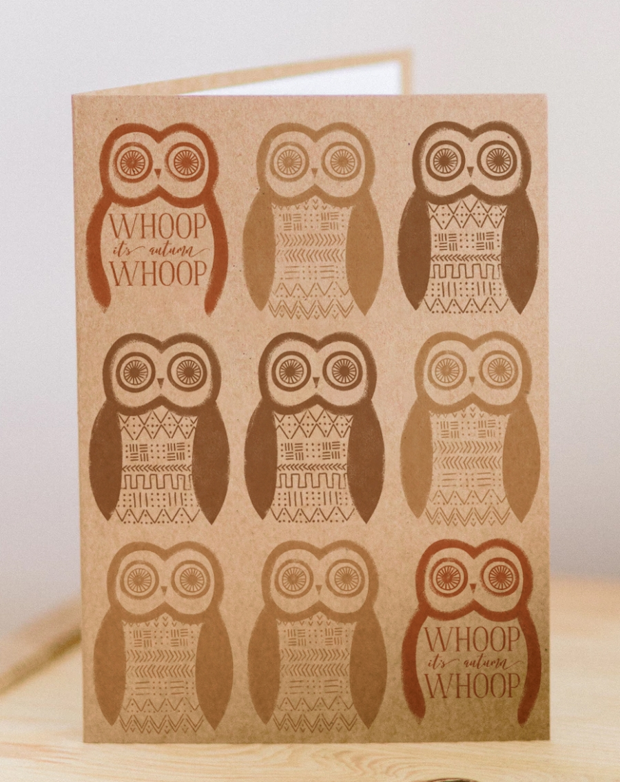 Handmade autumn card with owls