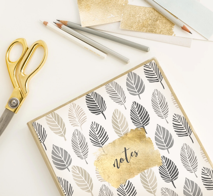 DIY journal for fall with metallic gold paint