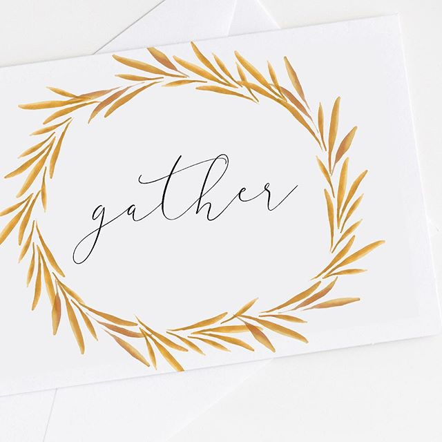 I'm so excited to be close to family and old friends for the holidays! This card was made with a free download from my site... super simple, just size it down and print it out.  #thankfulforyou #freeprintable #gather #moderncalligraphylove #handmadecards #createeveryday