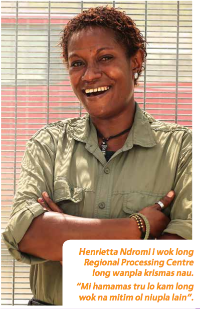 "A photo from a newsletter produced by the Australian High Commission in PNG.  The caption reads ""Henrietta Ndromi has been working at the Regional Processing Centre for one year now. ""I am so happy because I get to come to work and meet new people."""