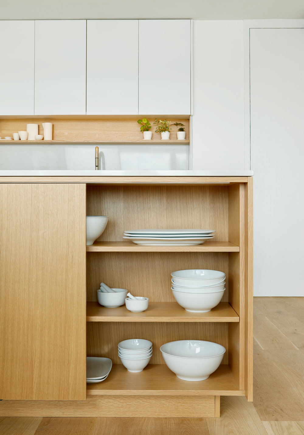 White and Oak Kitchen Storage - Apartment Renovation, Chicago