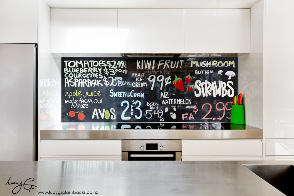 printed image on glass kitchen splashback fruit vege kiwiana nz signs lucy g