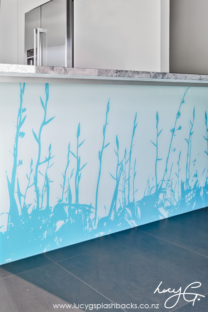 Printed 'image on glass' kitchen bar splashbacks - NZ Flax design -  Lucy G Splashbacks
