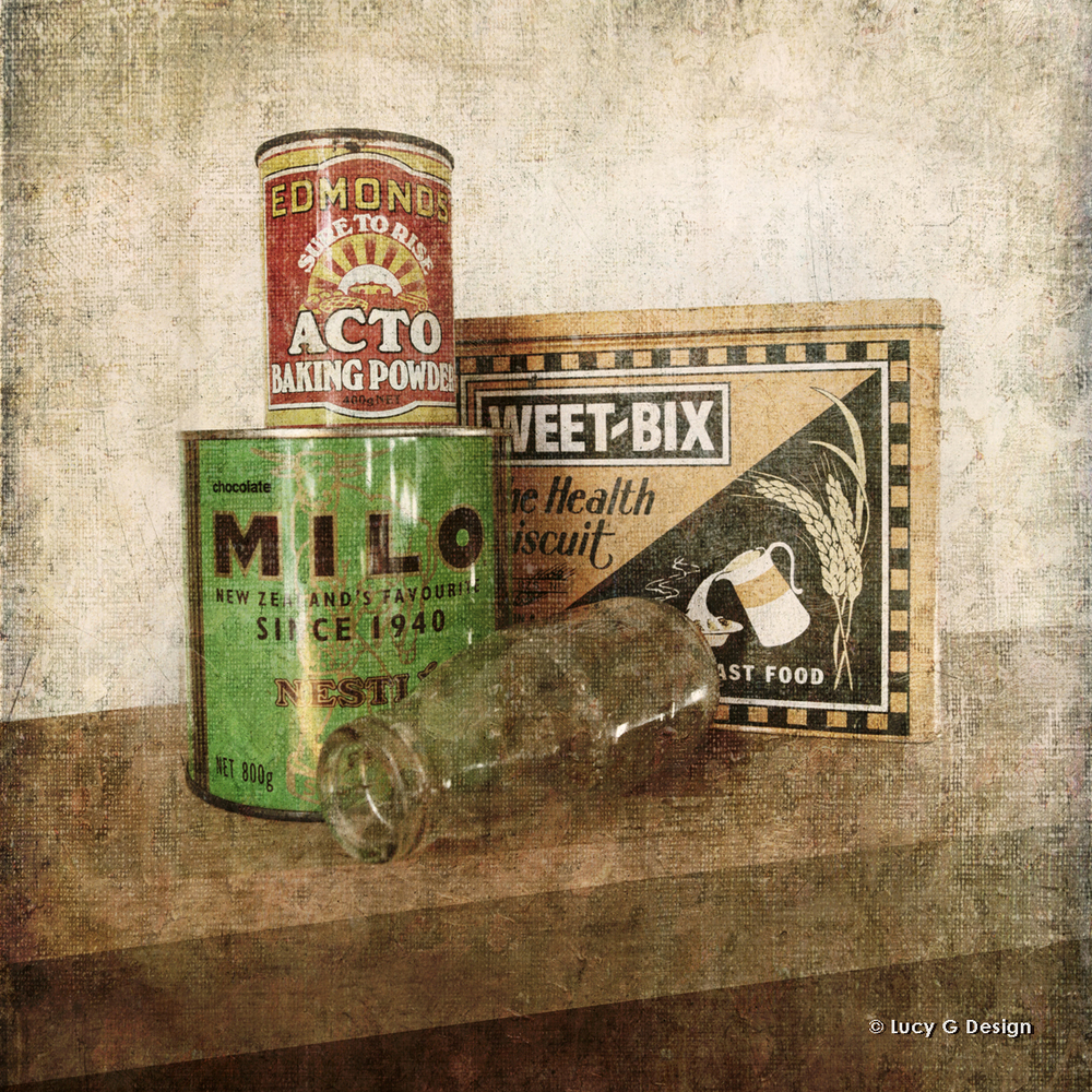 'Vintage Weebix tins' 51x51cm glass wall art