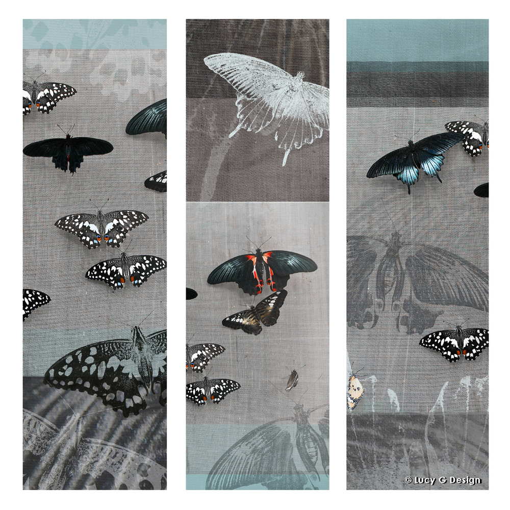 'Butterflies collage' 51x51cm glass wall art