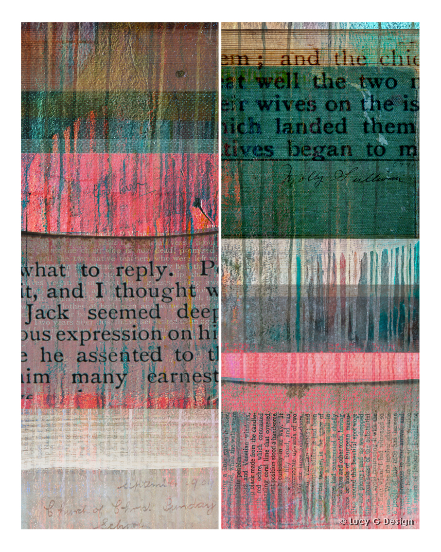 'Book textures' collage, 60x75cm glass wall art