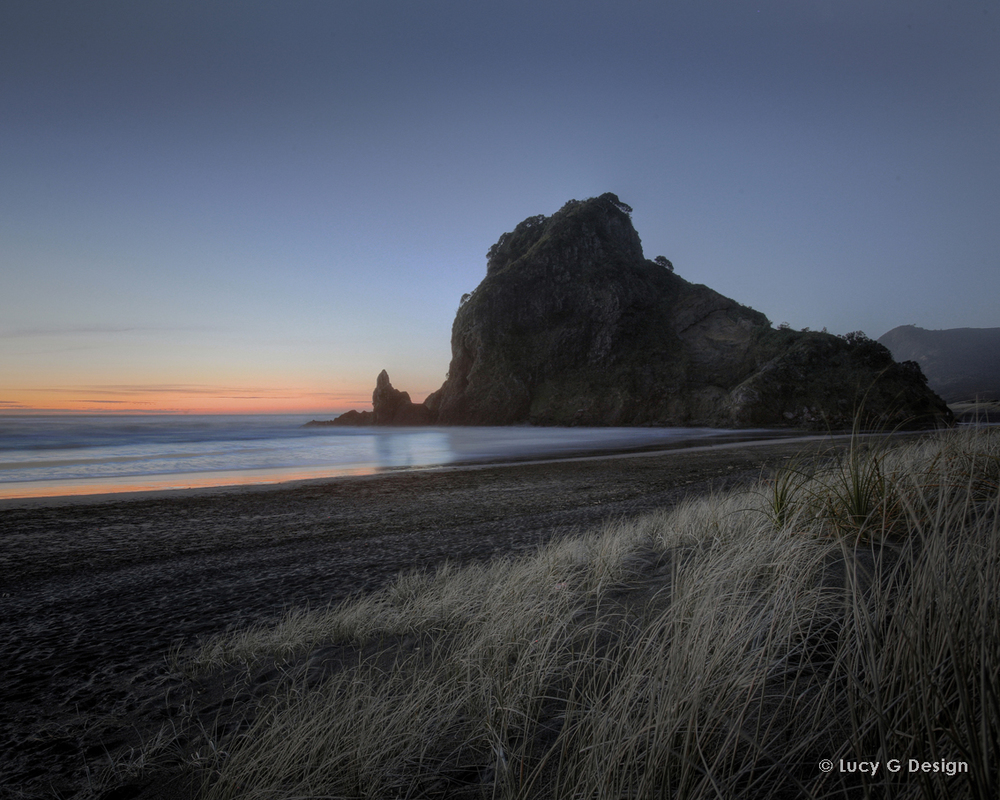 'Lion Rock, Piha' colour 60x75cm glass wall art