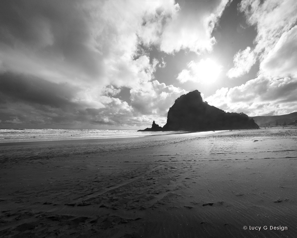 'Lion Rock Piha' b/w 60x75cm glass wall art