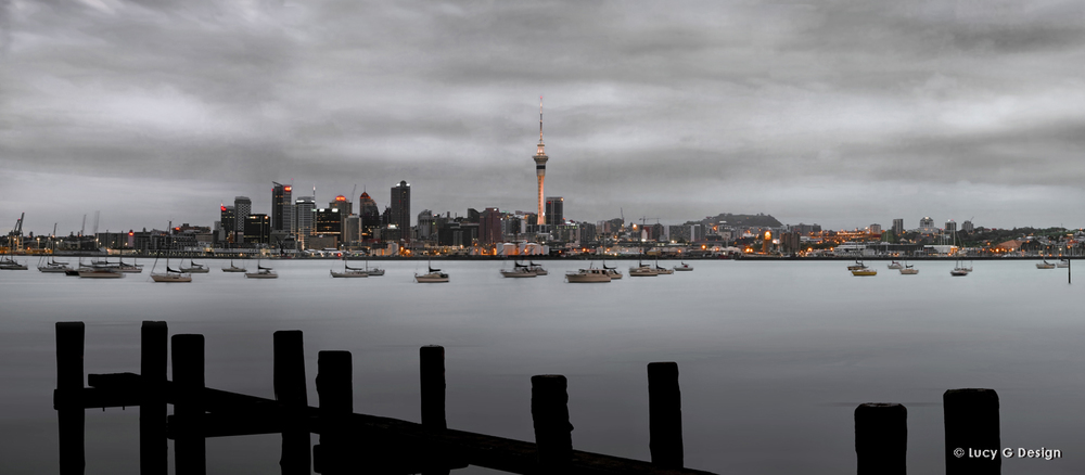 'Auckland Cityscape' b/w with orange, 51x102cm glass wall art