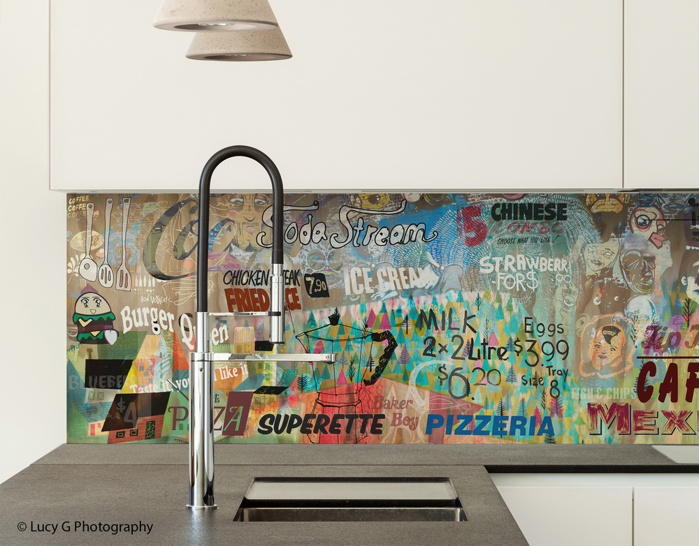 'What's for Dinner ?' printed image on glass splashback