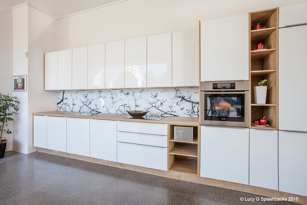 Fantails on blossoms splashback