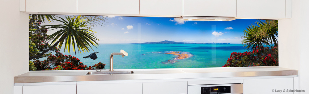 'Flight of the Tui' muriwai flax west coast auckland new zealand panorama photograph lucy g design kitchen printed image splashbacks