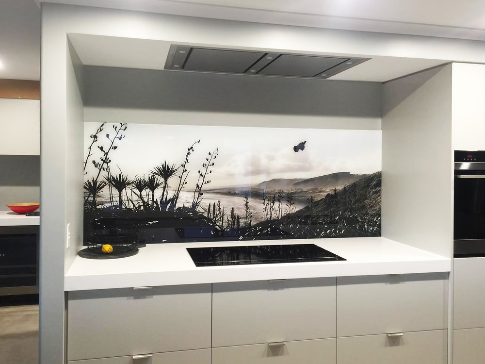 Flight of the Tui printed image on glass splashback