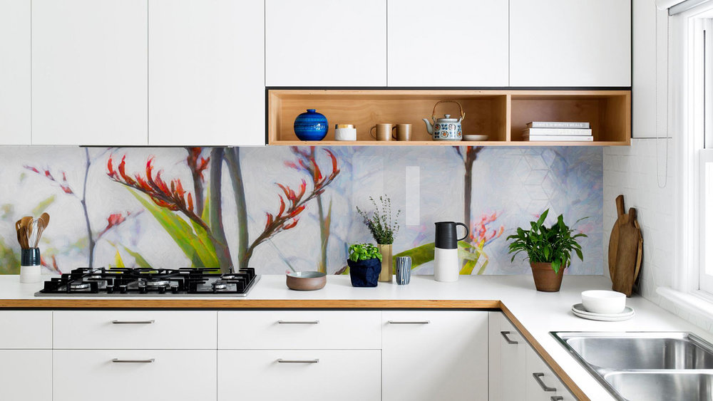 'FLAX FLOWER 1' (digital painting) printed image on glass splashback