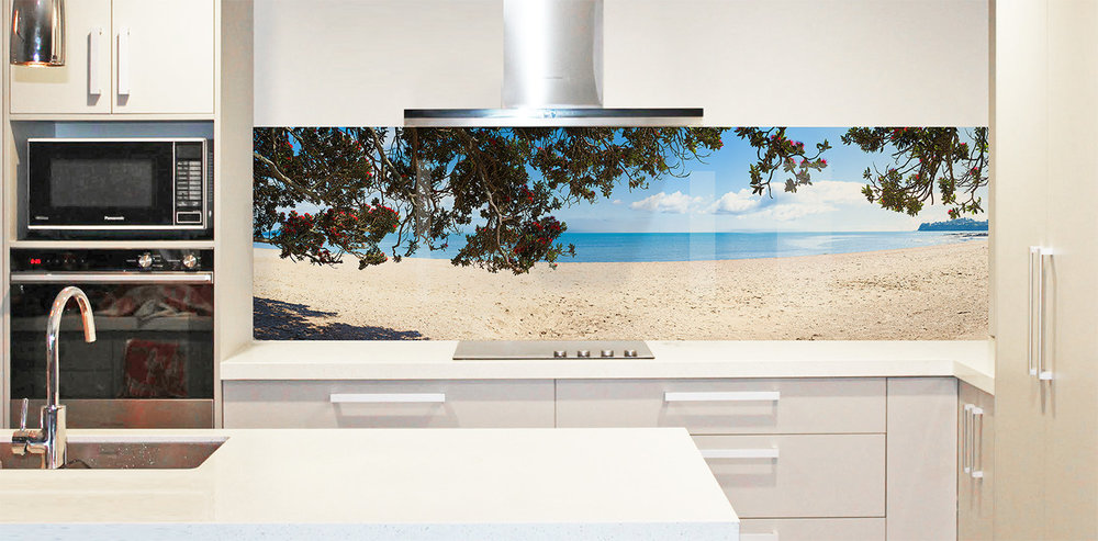 Printed image on glass splashback , Sydney, Australia - 'Summer Beach View'