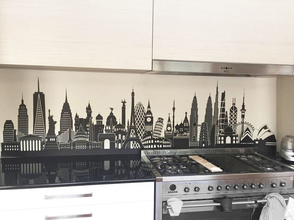 Dark benchtop - Dark benchtops look good with splashback images that have dark bases to them.Image : Custom vector