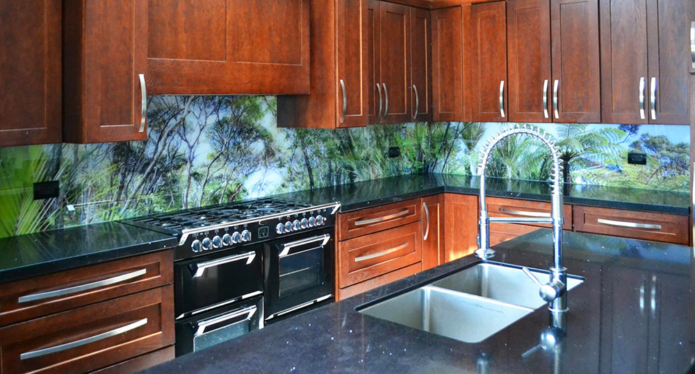 What is your view ? - This customer wanted a bush theme with his splashback for continuity of theme.