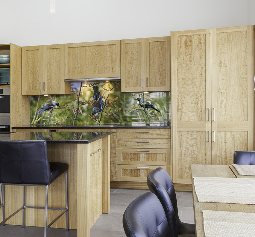 Timber kitchen - With timber cabinetry you may want to continue the natural theme into the splashback imagery.Image : Tui Portrait
