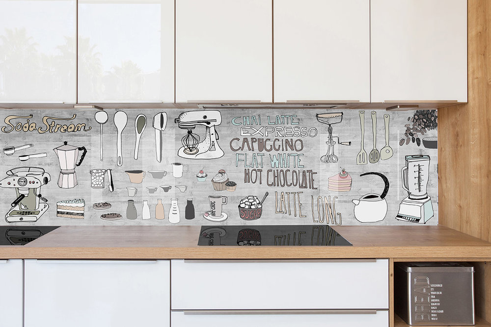 ''Hand Drawn Kitchen'' abstract kitchen splashback design