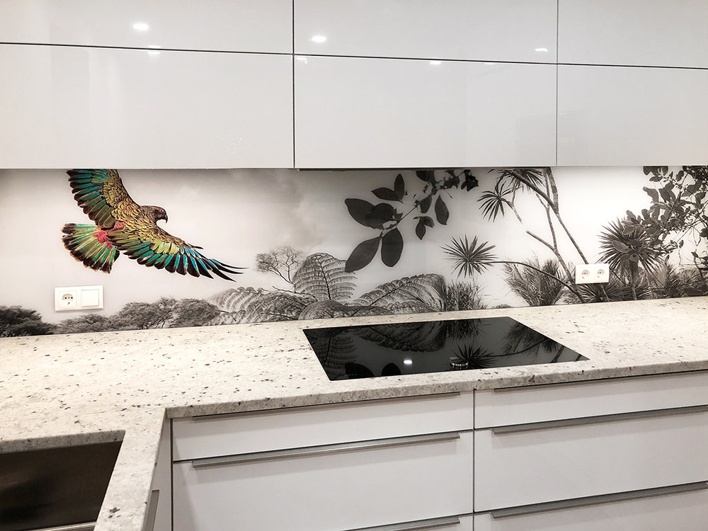 ''Flying Kea'' printed image splashback