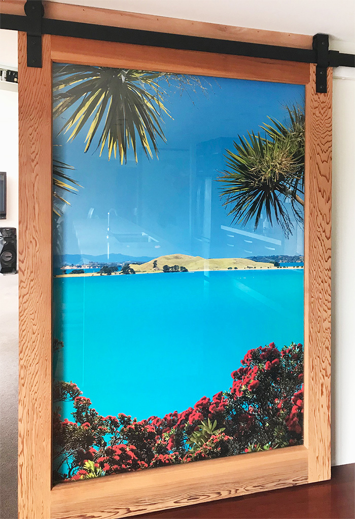 BROWN'S ISLAND - wallpaper mural  - - 2.15m high x 1.3m wide- Price range - $800 to $900 + gst (depends on location of install and complexity).- Rangitoto image available instead of Brown's Island- Mural was installed behind a sliding glass door with timber frame so when the door is pushed back the timber door frames the mural.