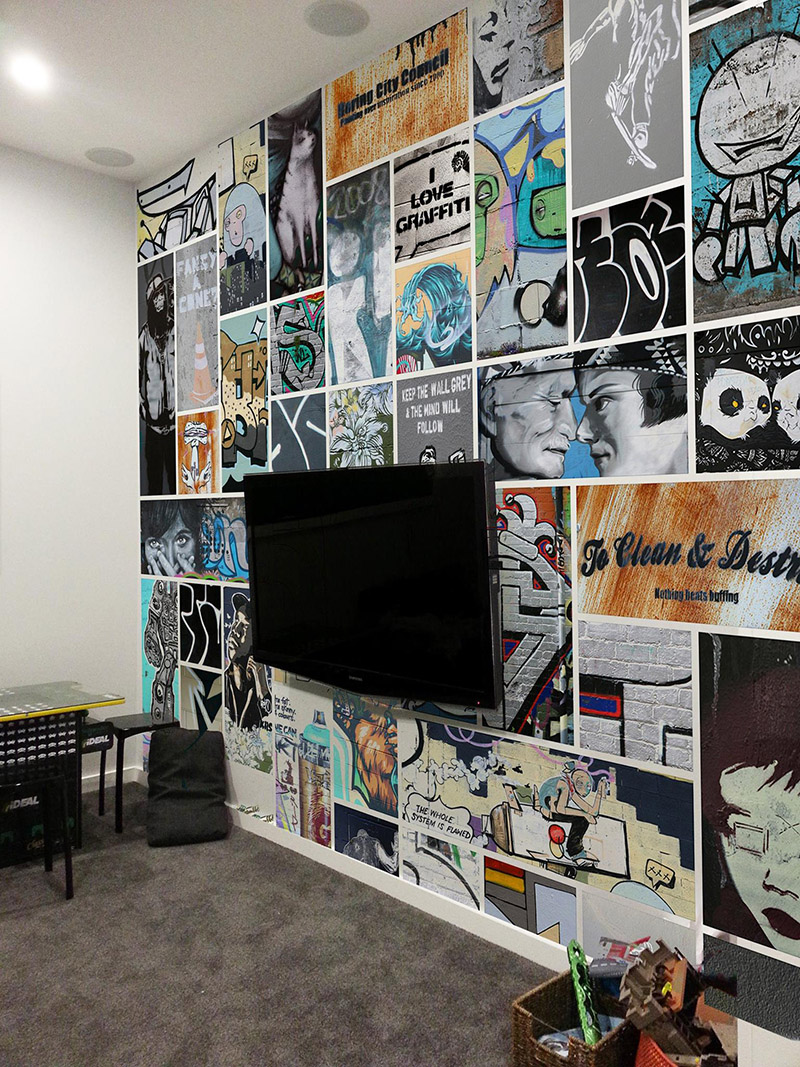 GRAFFITI COLLAGE - wallpaper mural - - 3 x 4m- Price range - $1800 - $2000 + gst - depends on complexity and location.- This wall mural collage creates a fun backdrop to this kids rumpus room.
